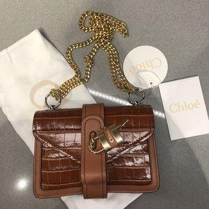 Chloe Aby Padlock Shoulder Bag Chestnut Brown Bag